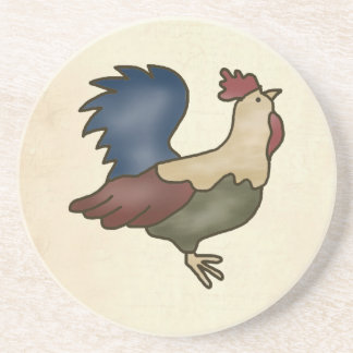 French Country Rooster Sandstone Drink Coaster
