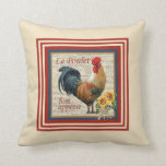 "French Country Rooster Throw Pillow<br><div class=""desc"">Add a French Country, designer touch to your kitchen den! This beautiful pillow with a vintage &quot;French County Rooster&quot; has the text &quot;Le Poulet&quot; and &quot;bon appetit&quot;. A bunch of sunflowers are wrapped with a raffia bow! The back of the pillow shows country red and beige checkerboard pattern. Perfect for...</div>"