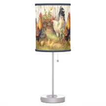 French Country Roosters Hens Print Table Lamp