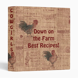 French Country Roosters Recipes CookBook 3 Ring Binders