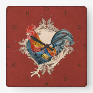 French Country Roosters Vintage Antique Home Decor Square Wallclock