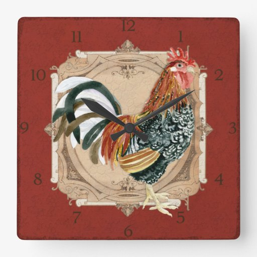 french country roosters vintage antique home decor square