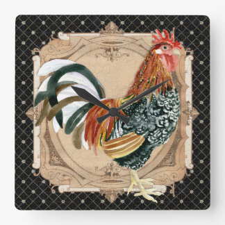 French Country Roosters Vintage Antique Home Decor Square Wall Clock