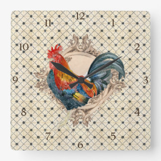 French Country Roosters Vintage Antique Home Decor Wallclock