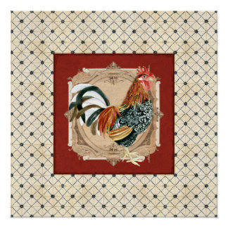 French Country Roosters Vintage Antique Home Decor Poster