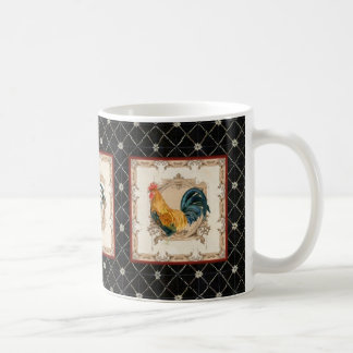 French Country Roosters Vintage Antique Tile Black Coffee Mug