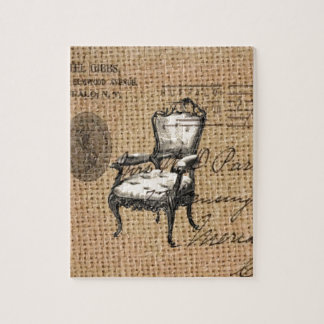 french country scripts burlap Paris rococo chair Jigsaw Puzzle