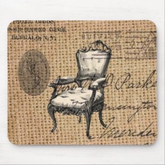french country scripts burlap Paris rococo chair Mouse Pad