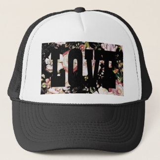 french country shabby chic flowers black floral trucker hat