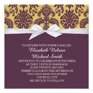 French Country Style Damask Wedding Invite