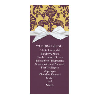 French Country Style Damask Wedding Menu 4x9.25 Paper Invitation Card