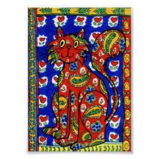 French Country Style Red Paisley Cat Mini Folk Art Poster