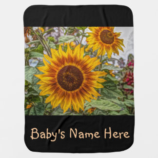 french country summer garden happy sunflower baby blanket