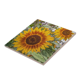 french country summer garden happy sunflower ceramic tile