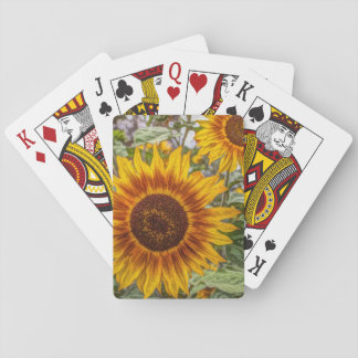 french country summer garden happy sunflower playing cards