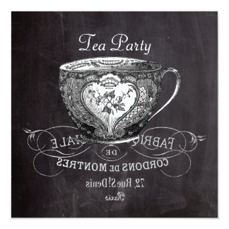 french country teacup chalkboard tea party card