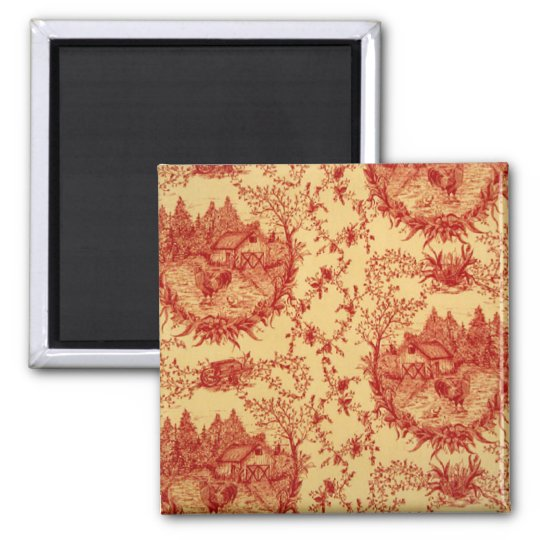 French Country Toile BarnRed/Butter Rooster Magnet