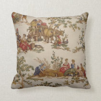 French Country Toile Print MoJo Throw Pillow