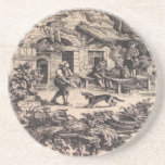 French Country Toile Sandstone Drink Coaster