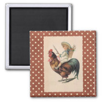 French Country Victorian Rooster Fridge Magnet