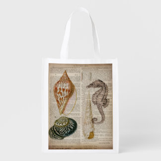 french country vintage seashell botanical print grocery bag