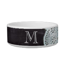 French country white lace chalkboard monogram bowl