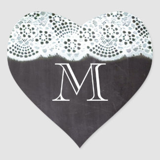 French country white lace chalkboard monogram heart sticker