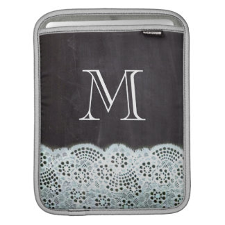 French country white lace chalkboard monogram sleeve for iPads