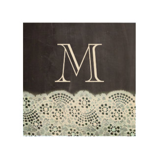 French country white lace chalkboard monogram wood print