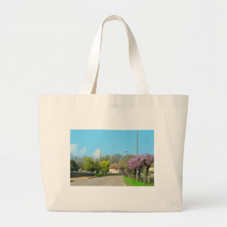 French Countryside village in the spring with purp Jumbo Tote Bag