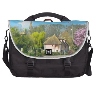French Countryside village in the spring with purp Commuter Bags