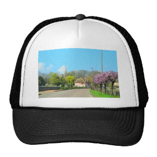 French Countryside village in the spring with purp Trucker Hat