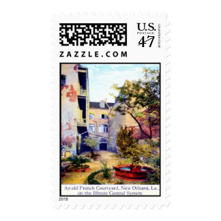 French Courtyard, New Orleans Vintage Postage