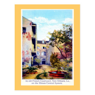 French Courtyard, New Orleans Vintage Postcard
