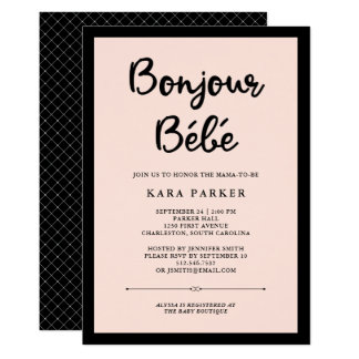 French Couture   Black and Pink Baby Shower Card