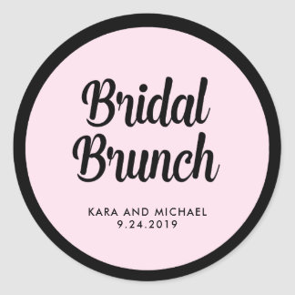 French Couture | Black and Pink Bridal Brunch Classic Round Sticker