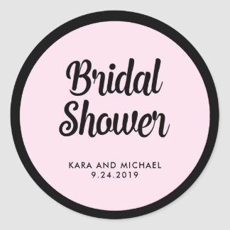 French Couture | Black and Pink Bridal Shower Classic Round Sticker