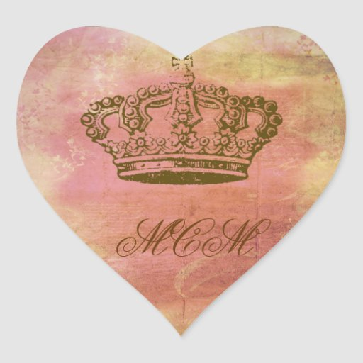 French Crown in Pink & Ivory Heart Sticker