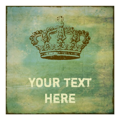French Crown Vintage Patina Custom Poster | Zazzle