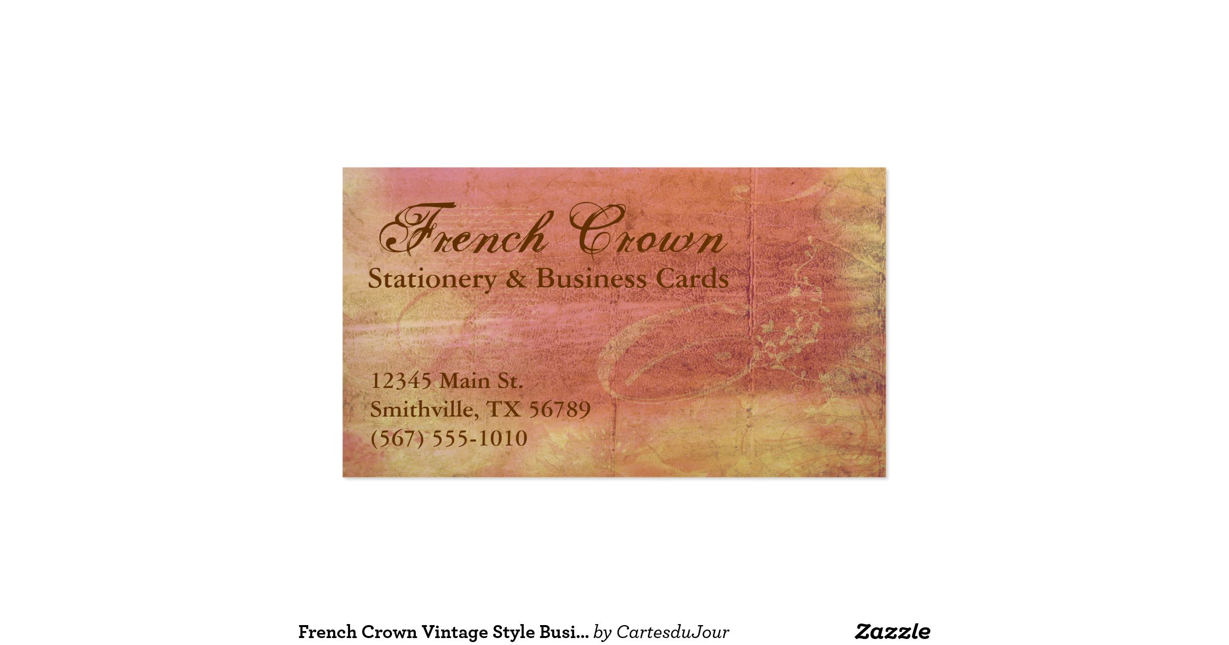 French crown vintage style business cards for Business cards vintage style