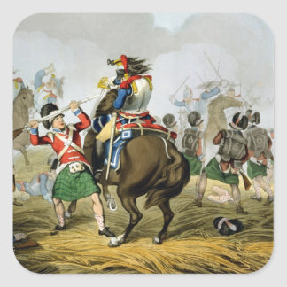 French Cuirassiers at the Battle of Waterloo, Char Square Sticker