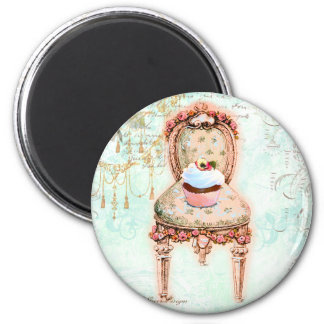 French Cupcake Victorian Style 2 Inch Round Magnet