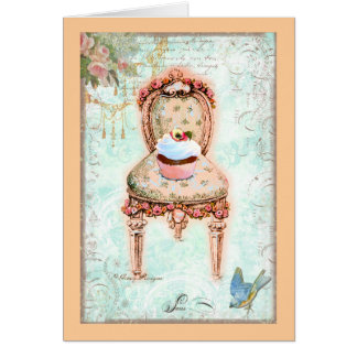 French Cupcake Victorian Style Card