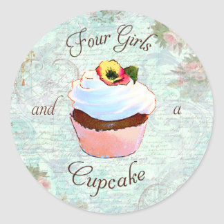 French Cupcake Victorian Style Classic Round Sticker
