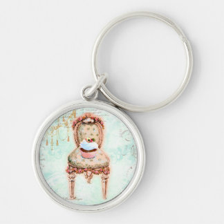 French Cupcake Victorian Style Silver-Colored Round Keychain
