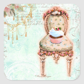 French Cupcake Victorian Style Square Sticker