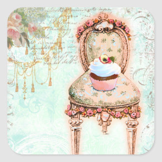 French Cupcake Victorian Style Stickers
