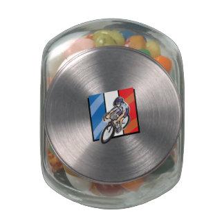 French Cyclist 2 Glass Jar
