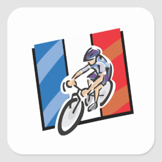 French Cyclist 2 Square Sticker