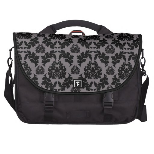 French Damask Black and Gray Bags For Laptop